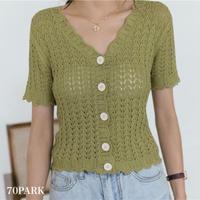 #Crochet Short Sleeve Topフロントボタン 透かし編み ニット トップス 全2色 クロシェ