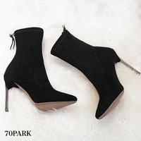 #Stiletto High Heel Sock Boots スエード調 シルバー ピンヒール ソックス ブーツ 全3色