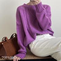 #クルーネック カラー ケーブル編み ニット 全5色 セーター