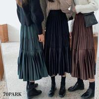 #Velvet Tiered Skirt  ベロア 細プリーツ ティアード スカート 全3色