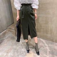 #High Waisted Faux Leather Skirt  ハイウエスト フェイクレザー スリット スカート 全3色