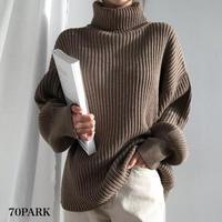 #Turtleneck Ribbed Knit Sweater  タートルネック リブ ニット 長袖 トップス 全3色