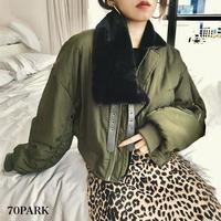 #Asymmetrical Zip Jacket  アシンメトリー ショート丈 ボリューム ブルゾン 全2色