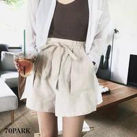 #High Waisted Linen Shorts  ウエストリボン リネン ショートパンツ  全2色