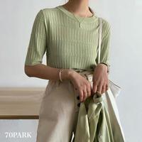 #Short Sleeve Knit Top シャーベットカラー 半袖 薄手 ニット トップス 全6色