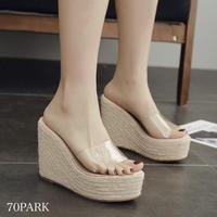 #Clear Wedge Sandals クリア ジュート ウエッジソール 厚底 サンダル 全4色