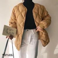 #Quilting Jacket ノーカラー キルティング 中綿 ジャケット 全2色