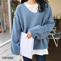 #V Neck Long Sleeve Sweater  Vネック 長袖 カラー ルーズ ニット 全6色