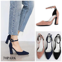 #Ankle Strap Chunky Heel Pumps  スエード調 チャンキーヒール 美脚 パンプス 全3色