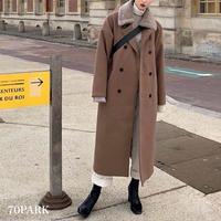 #2way Double Breasted  Long Coat  襟ボア ダブルボタン ロング コート 全2色