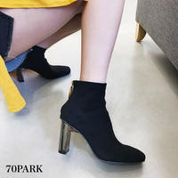 #Faux Suede Ankle Boots スエード調 サークルジップ 変形ヒール ショート ブーツ 全2色