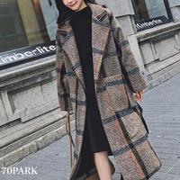#Plaid Wrap Coat  ベルト付き 大判 チェック柄 ラップコート 全2色