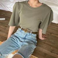 #Puff Sleeve  T-shirt ボリューム袖 クルーネック シンプル Tシャツ 全6色