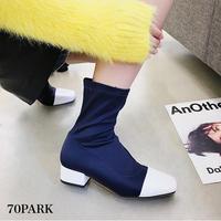 #Square Toe Sock Boots エナメル 切り替え スクエアトゥ 太ヒール ソックス ブーツ 全2色
