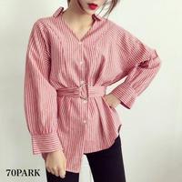 #Striped Blouse with Belt  ベルト付き ストライプ シャツ ブラウス 全3色 ヌキ襟