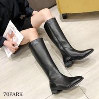 # フェイクレザー ローヒール シンプル ロング ブーツ 全2色