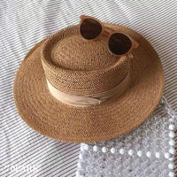 #Paper Hat  ベージュリボン ペーパーハット つば広 帽子