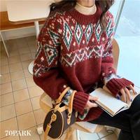 #Nordic Knit Sweater ノルディック柄 クルーネック ニット 全2色 セーター