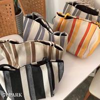 #Striped Canvas Tote Bag ポーチ付 ストライプ キャンバス ビッグ トートバッグ 全5色