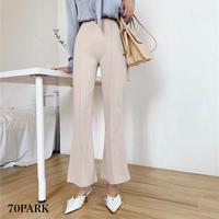 #High Waisted Flare Pants ハイウエスト センタープレス フレアパンツ  全2色