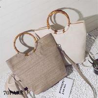 #3way Ring Handle Basket Bag  バンブー リング ハンドル トートバッグ 全2色 かご