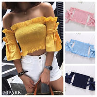 #Off The Shoulder Bow Sleeve Top 袖リボン オフショルダー シャーリング トップス 全5色