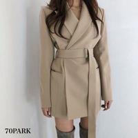 #Belted Tailored Jacket  ロング ベルト テーラード ジャケット  全2色