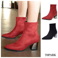 #Silver Metal Heel Ankle Boots スエード調 シルバー メタルヒール アンクル ブーツ 全2色