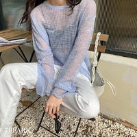 #See Through Knit Top シースルー 薄手 ニット 長袖 カットソー 全3色