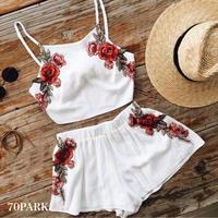 # Rose Embroidered 2 Piece Set  フラワー 刺繍 パンツ セットアップ  全2色 ホワイト カバーアップ