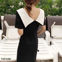 #Big Collar Dress ビッグ カラー 半袖 シンプル ワンピース 全2色