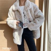 #Faux Fur Jacket  襟つき フェイクファー ジャケット