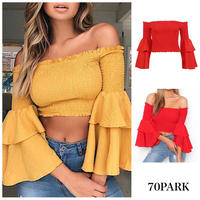 #Off The Shoulder Bell Sleeve Top ボリューム フレアスリーブ オフショル クロップトップ 全2色 リゾート