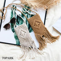 #Crochet Fringe Shoulder Bag クロシェ編み フリンジ スマホ ショルダーバッグ  全2色 リゾート