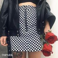 #Checkered Zip Mini Skirt buro ブロック チェック フロント ジップ  ミニ スカート ブラック