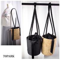 #Basket Shoulder Bag リボン付き かご ショルダー バッグ 全2色  バケツバッグ
