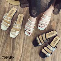 #PVC Two-Strap Sandal クリア ダブルベルト ペタンコ サンダル 全3色
