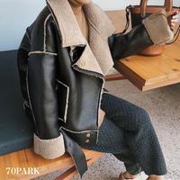 #Belted Mustang Jacket ベルト付 フェイクレザー ムスタン ジャケット ブラック