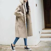 #Hooded  Boa Long Coat  ボア フーディー ロング コート  ベージュ