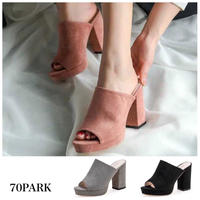 #Faux Leather Mule Sandals チャンキーヒール シンプル ミュール サンダル 全3色