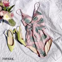 #Leaf Print Swimsuit  リーフ柄 ピンク ウエストリボン ワンピース 水着  モノキニ