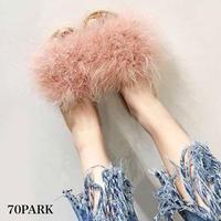 #Faux Fur Jute Sandals  ボリューム ファー ジュート サンダル 全5色