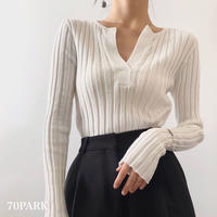 #Slit Front Ribbed Knit top  フロント スリット 長袖 リブ ニット トップス 全5色