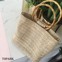 #Bamboo Ring Handle Basket Bag ポーチ付き バンブー ハンドル  かご トートバッグ