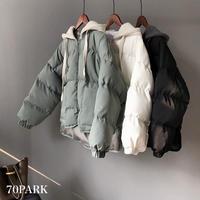 #Hooded Padding Jacket フード付き ショート 中綿 ジャケット 全3色 ダウンジャケット