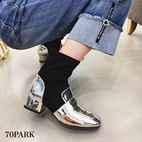 #Metallic Sock Boots メタリック 切り替え 太ヒール ソックス ブーツ 全2色
