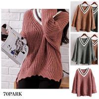 #Oversized Tilden Sweater Vネック ライン入り ローゲージ  ルーズ ニット 全4色