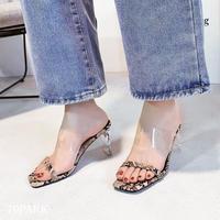 #Python Clear Sandals パイソン柄 クリア ヒール サンダル 全2色