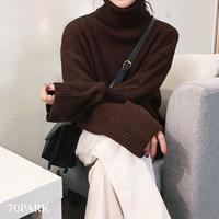 #Turtleneck Loose Knit Sweater  タートルネック ルーズ ニット トップス 全5色