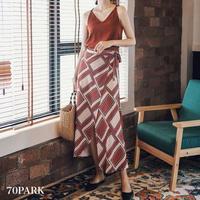 #Geometric Print Wrap Skirt  幾何学柄 ロング ラップ スカート 全2色 リゾート